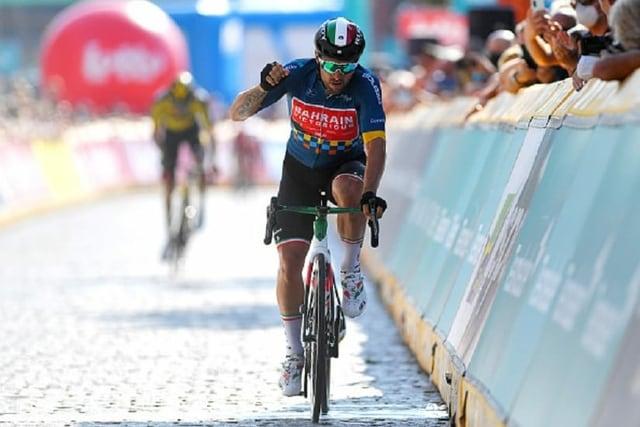 Sonny Colbrelli nach der Zielankuft der letzten Etappe.