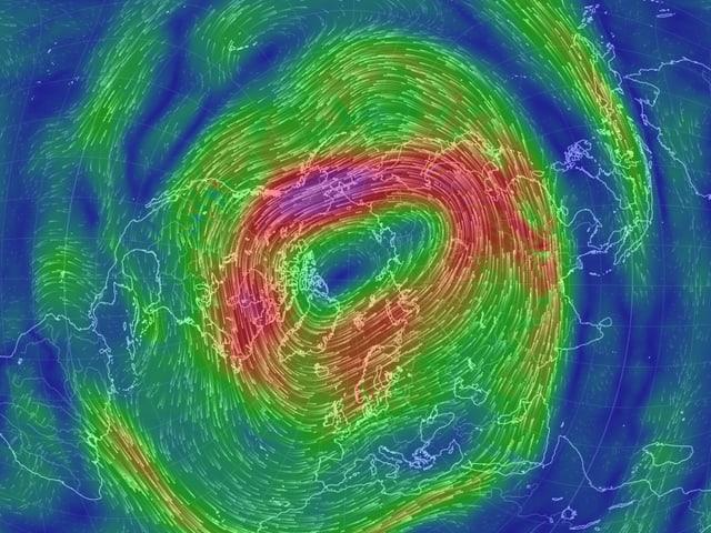 Ein Karte zeigt das Starkwindband rings um den Nordpol.