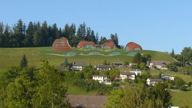 Eine Visualisierung eines Parks auf einem Hügel.