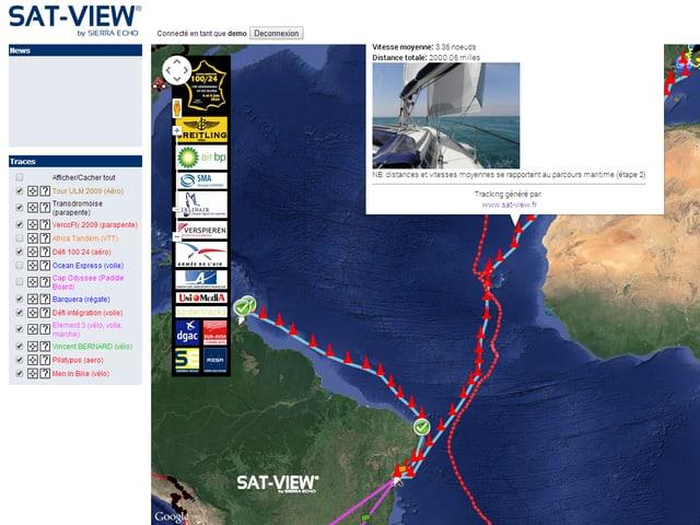 Weltkarte mit Route eines Schiffes, Bild des Schiffes