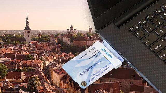 Collage: Estisches Stadt mit Computer und digitaler Identitätskarte