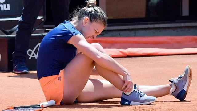 Simona Halep hat sich am Knöchel verletzt.