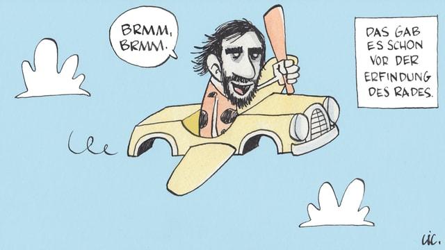 Zeichnung: Höhlenmensch, der in einem fliegenden Auto sitzt und die Keule schwingt.