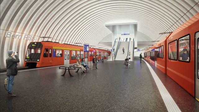 Die Perronebene des neuen RBS-Tiefbahnhofs.