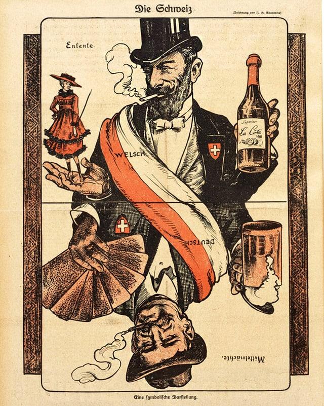 Eine einer Jasskarte nachempfunde Zeichnung mit zwei Herren, wobei der eine eine Flasche Wein und der andere ein Glas Bier in der Hand hält.