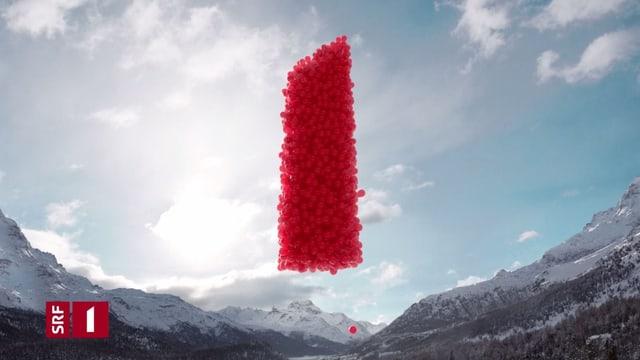 Unzählige rote Ballons, die die Zahl 1 formen