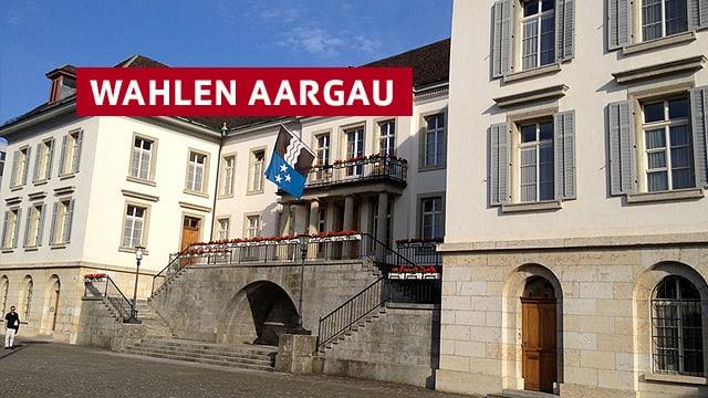 """Regierungsgebäude mit Schriftzug """"Wahlen Aargau"""""""