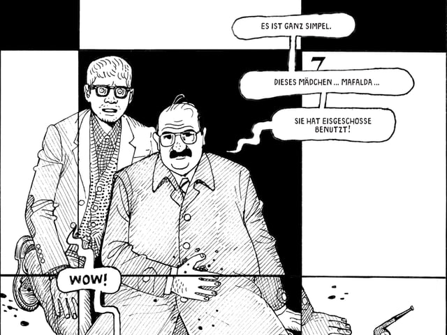 Eine schwarzweiss Zeichnung zeigt zwei Männer, der eine ist verletzt