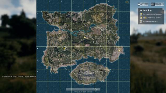 Ein weisser Kreis markiert das Schlachtfeld, ausserhalb davon wird nach und nach eine blaue Gaswolke alles vernichten.