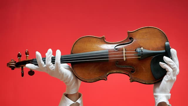 Zwei Hände in weissen Handschuhen halten eine Geige in die Luft.