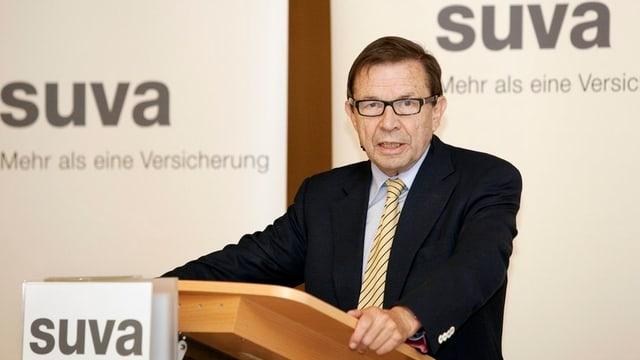 Franz Steinegger bei einem Auftritt als Präsident der SUVA.