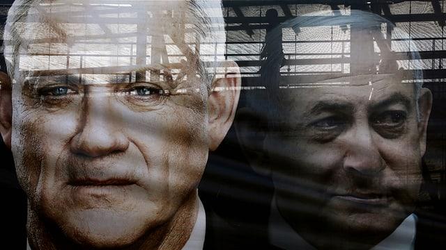 Plakat mit Benny Gantz und Benjamin Netanjahu