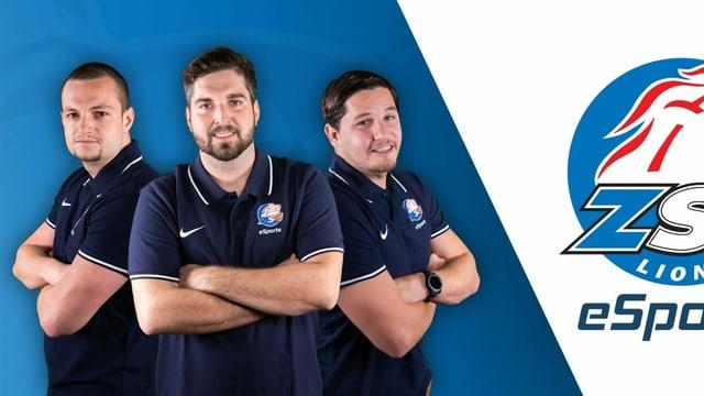 Drei Männer neben dem ZSC Logo