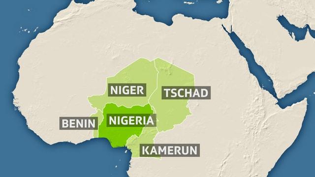 Karte hebt die Länder Benin, Niger, Nigeria, Tschad und Kamerun hervor