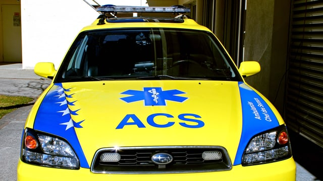 Eine Ambulanz von vorne.
