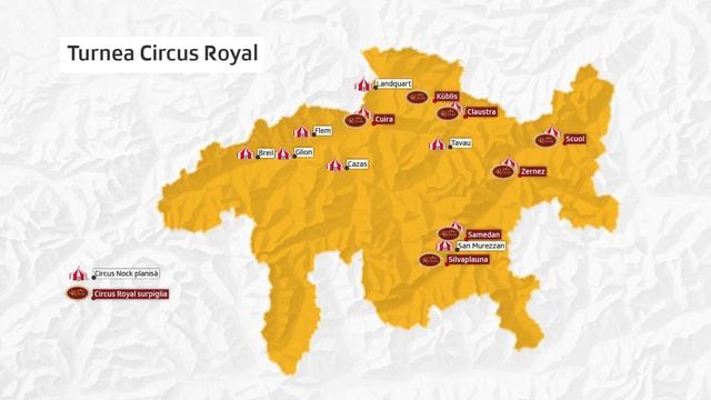 Purtret d'ina charta dal Grischun cun nudà ils termins dal Circus Nock ch'èn stadas planisadas e quellas ch'il circus Royal surpiglia.