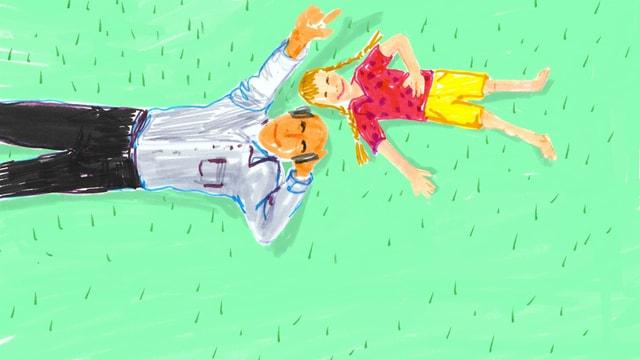 eine Zeichnung von einem Grossvater und der Enkelin, die im Gras liegen