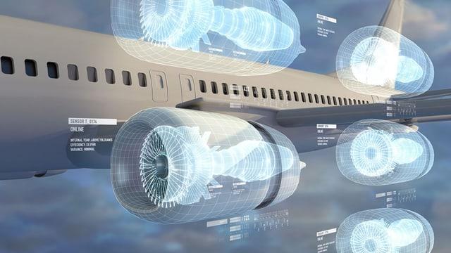 Der digitale Zwilling eines Flugzeuges mit seinen Triebwerken.