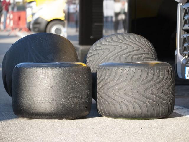 Die neuen Pirelli-Reifen am 4. Testtag in Barcelona.