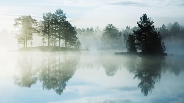 Ein See mit Nebel.
