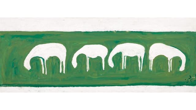 Auf grünem Hintergrund sind vier Schafe von der Seite zu sehen.