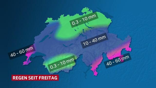 Karte der Schweiz zeigt, dass es in der Ostschweiz fast trocken blieb.