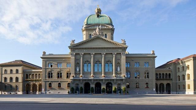 Das Bundeshaus von vorne fotografiert. Dahinter blauer Himmel.