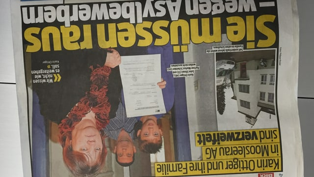 Frontseite der Zeitung Blick mit dem Bild der Familie