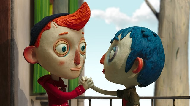 Animations-Szene: Zwei Jungs geben sich die Hand.