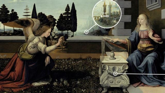 Ansicht eines Gemäldes, auf dem die Erscheinung eines Engels dargestellt ist, mit hinzugefügten Grossaufnahmen von einzelnen Details.
