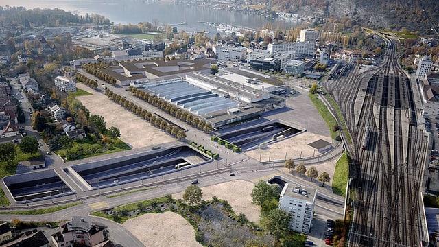 Visualisierung offener Anschluss zwischen Biel Bahnhof und See