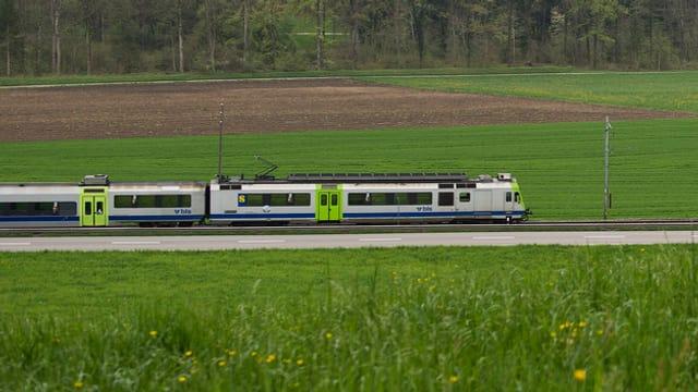 Ein Zug auf der Strecke Bern-Freiburg.