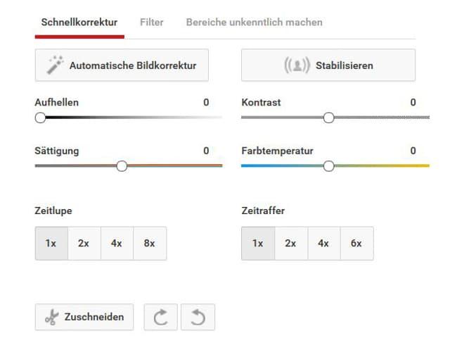 Screenshot der Möglichkeiten, die der Youtube-Videomanager bietet.