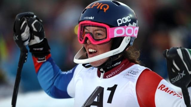 Michelle Gisin gewinnt bei der Junioren-WM in Kanada Silber im Slalom.