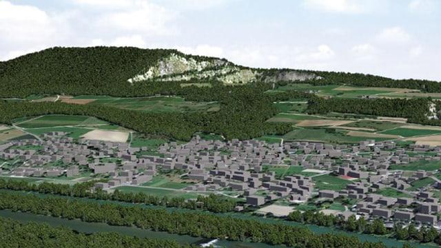 Grafik die simuliert, wie das Abbaugebiet 2080 aussehen würde. Auf der Gislifluh fehlt ein Stück.