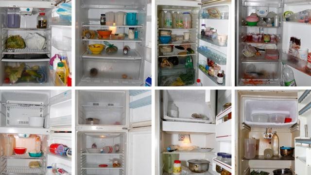 Innenansicht mehrerer Kühlschränke.