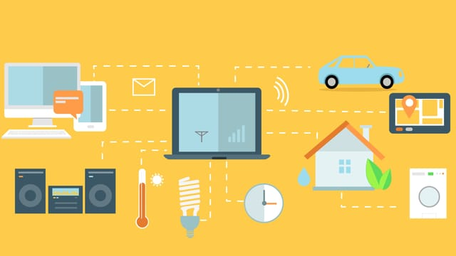Computer und Geräte, mit verschiedenen Linien verbunden.