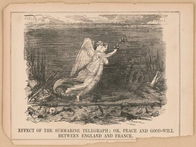 Illustration aus dem 19. Jahrhundert: Zwei Engel über einem Schlachtfeld