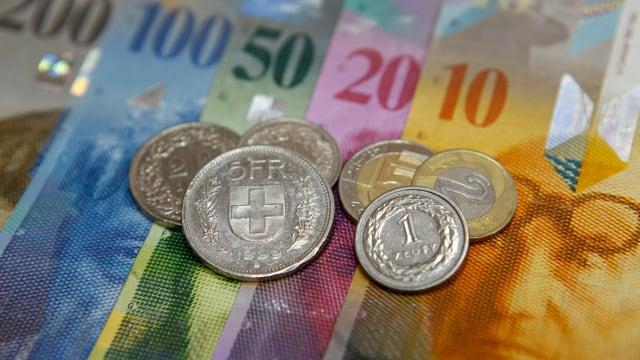 Banknoten und Münzen.
