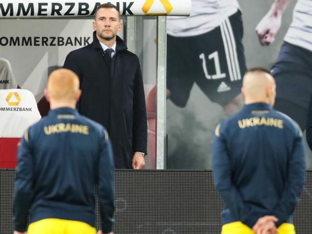 Die Ukraine mit Trainer Andrij Schewtschenko.