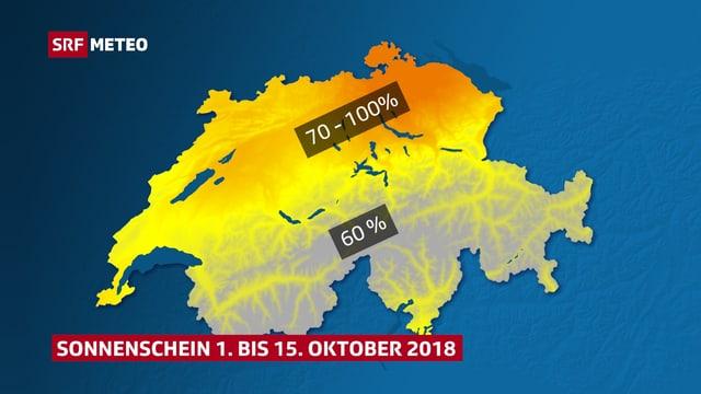 Schweizer Karte, im Osten orange eingefärbt.