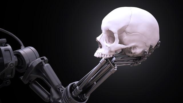 Ein Roboterarm hält einen Schädel in der Hand.