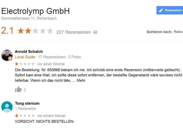 Screenshot/google Bewertung 2 Sterne