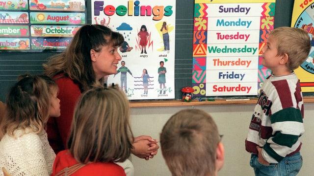 Primarschüler mit der Lehrerin vor der Wandtafel. Es hängen Plakate in englischer Sprache.
