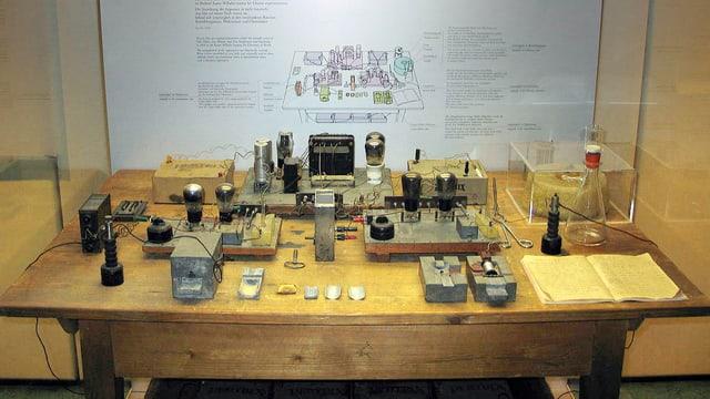 Die Rekonstruktion zeigt einen Versuch, mit dem Hahn, Meitner und Strassmann im Jahr 1938 die Kernspaltung entdeckten.