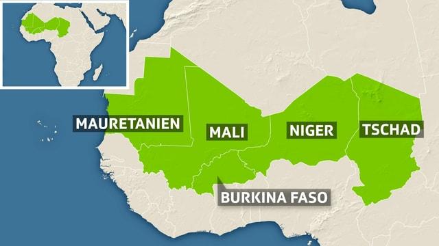 Karte der Gruppe G5-Sahel mit den Mitgliedsstaaten Mauretanien, Mali, Niger, Burkina Faso und Tschad.