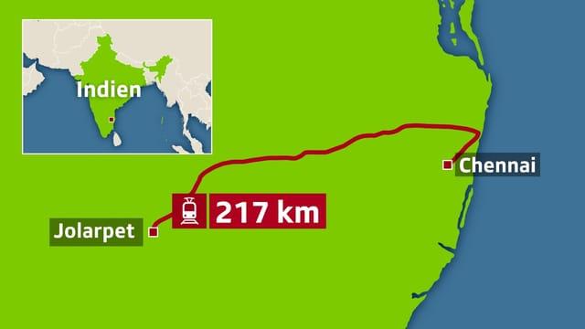 Karte Indiens mit der eingezeichneten Zugstrecke von Jolarpet nach Chennai.