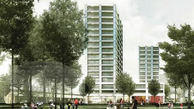 Visualisierung der zwei Hochhäuser, die in Uster geplant sind.