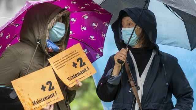 Frauen mit Masken und Schirmen.