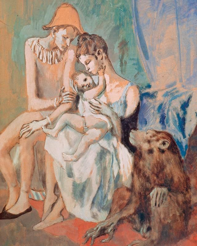 Ein in rosa und blau gehaltenes Gemälde eines Zirkuskünstler-Paares mit Kind. Daneben sitzt ein Affe.